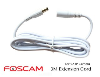 Power Extension Cord (3M) for Foscam 12-Volt IP Cameras White
