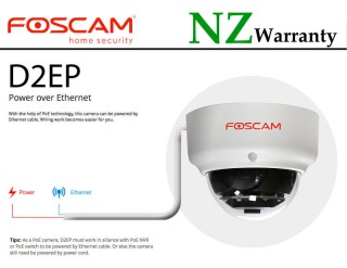 FOSCAM IP CAMERA D2EP 2MP Vandal-Proof PoE Dome Camera