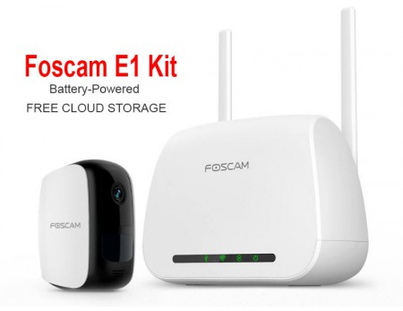 Foscam E1 Battery Powered Wireless Camera kit Free Cloud Recording