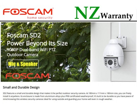 FOSCAM IP CAMERA SD2 Outdoor PTZ 4x Optical Zoom Full HD Wifi/Wired